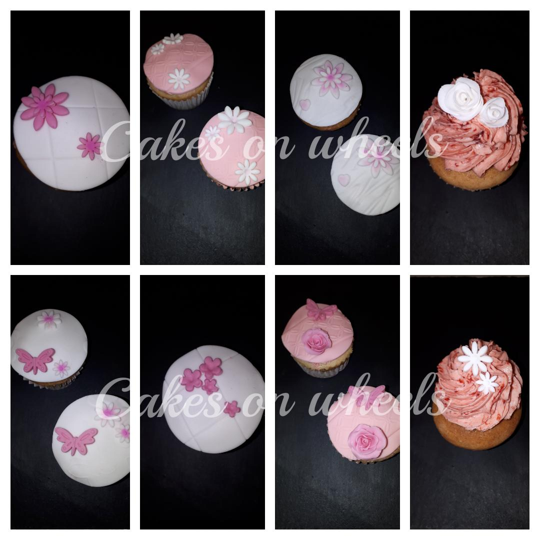 Cupcakes in roze en wit