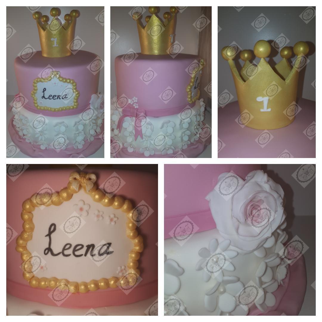 Roze, Witte en Gouden Verjaardagstaart.