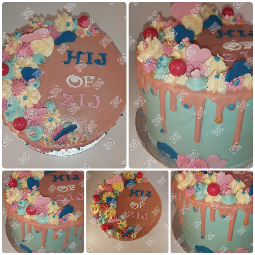 Gender reveal taart.
