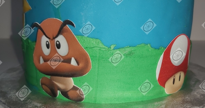 Super Mario taart voor de 3e verjaardag van Yezen.