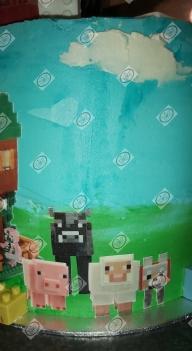 Minecraft en Lego in 1 taart, voor broer en zus samen.