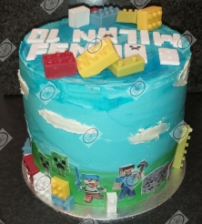 Minecraft Lego taart