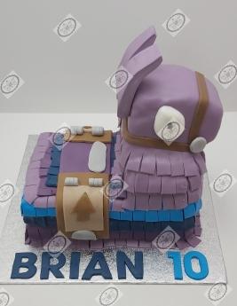 Fortnite Llama taart voor de 10e verjaardag van Brian.