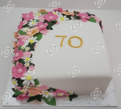 Bloementaart voor een 70e verjaardag.