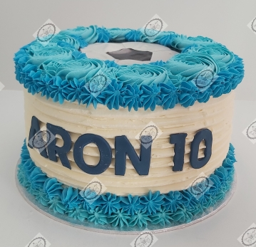 Voetbal taart in blauw en wit